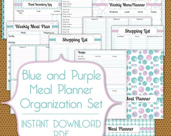Meal Planner PDF Instant Download Organization Printable Set in Blue and Purple