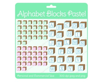 Children's Alphabet Blocks Pastel Set  Digital Scrapbook and Clipart Instant Download