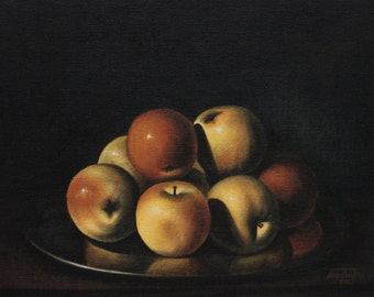 Still life with apples in a plate