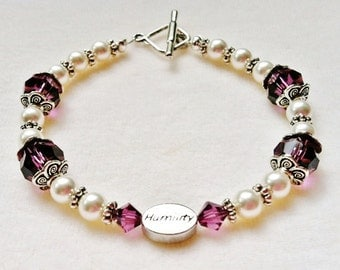 "Sterling Silver ""Humility"" Bracelet with Amethyst Swarovski Crystals and White Swarovski Pearls"