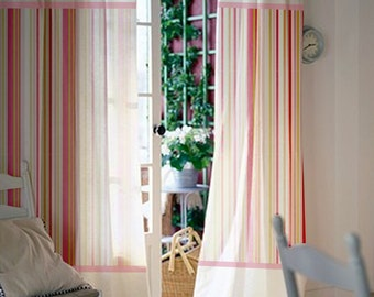 Window Curtains / Nursery Curtains / Kids Curtains / White And Shades Of Pink  Striped Curtains