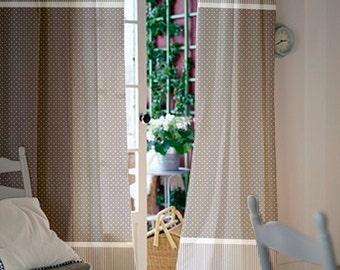 Window curtains / Nursery curtains / Kids curtains / Pair of 84L 46W inch / Gray Polka dot curtains