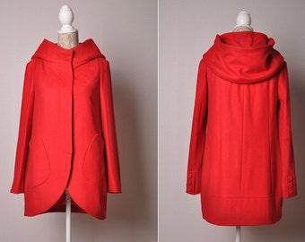 Winter Wool Coat Hoodie Cape Women Hooded Coat Spring Long Jacket Red-WH048 M,L,XL,XXL