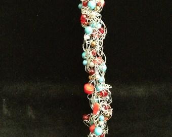 Silver Southwestern Wire Crochet Bracelet