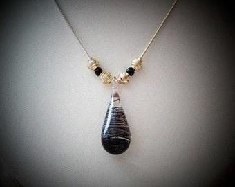 Black Glass Pendant Necklace