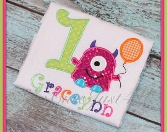 Monster Themed Birthday Number Shirt- Girls