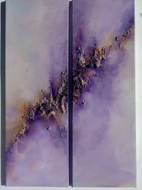 Purple Abstract Sky Art...Original Diptych Abstract Modern