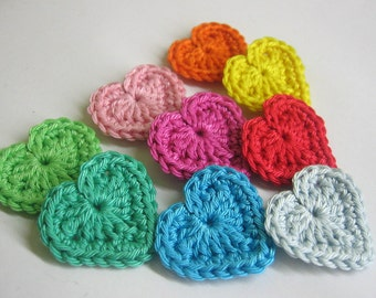 Handmade crocheted heart appliques colorful set of 9 appliques 1,3 inches