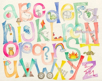 8x10 ABC Alphabet Nursery Watercolor Art Print