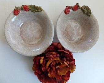 2 Ceramic Bowls, Rustic Handmade Strawberry Bowls, Wild Crow Farm Pottery