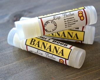 Banana Lip Balm, bath and beauty natural lip balm with coconut oil, paraben free, bath and beauty
