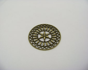 47mm Vintage Antique Bronze Round Filigree Finds/043