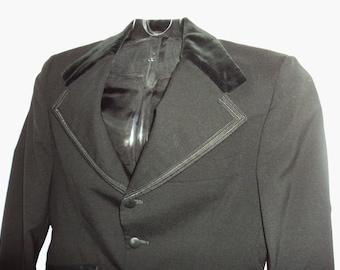 1960s Mens Black Tuxedo Prom Jacket 38L Wide Lapel Hippie Retro Vintage