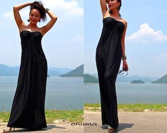 Black Strapless  Beach evening long maxi Sun dress All size