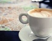 Travel Photography, Italy, Rome, Cappucino, Coffee, Map, 8x10