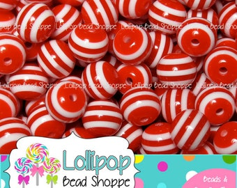 8mm RED Striped Beads Round Gum Ball Beads Stripe Resin Beads 50-ct Plastic Stripes Bubblegum Beads Bubble Gum Beads Bottlecap Beads