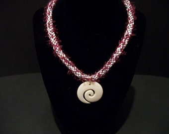 Burgundy Shell Kumihimo Necklace