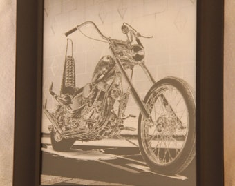 """8x10 inch photo of Harley """"Captain America"""" chopper from movie Easy Rider"""