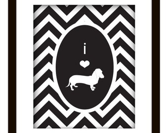 Chevron Daschund Dog Lover Print Yourself Art Poster