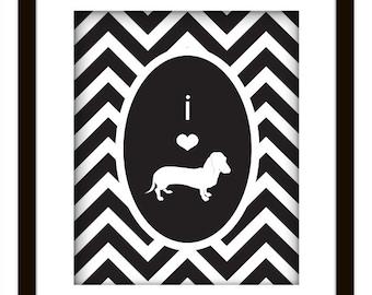 Chevron Daschund Dog Lover Print Yourself Art Poster