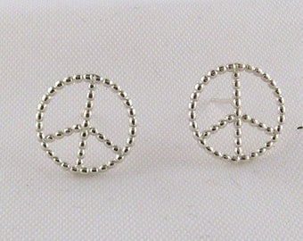 Peace Sign Earrings Sterling Silver