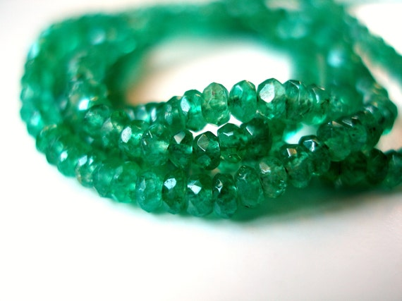 Emerald Faceted Rondelles, Grade A, Genuine Un-Treated Gemstone Beads, 2.5-3mm, 3 Inch Strand, May Birthstone
