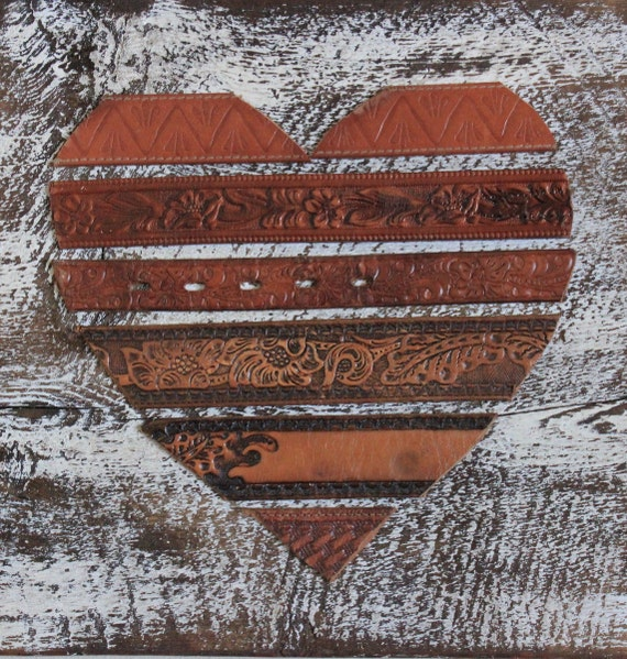 Rustic leather heart wall art by beyondapicketfence on etsy Repurposed leather belts