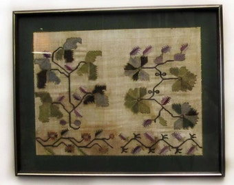 Free Fast Shipping/Antique Hand Made Embroidery on Silk with Brass Frame 100 years old