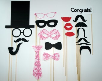 Photo Booth Props / Stick Props / Wedding / Birthday Party / Mustache sticks