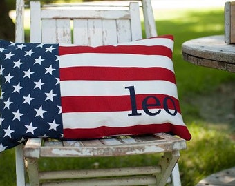 American Flag Pillow with customized name