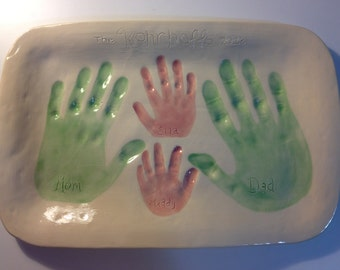 Baby, Children, or Family Handprint Serving Tray