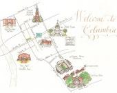 Made to Order - Custom Wedding Map - Illustrated South Carolina - Columbia Map - University of South Carolina
