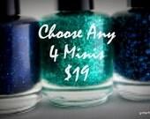 nail polish set mix and match Mini Glitter Nail Polish Favors 5 free nail polish handmade indie nail polish vegan cruelty free nail polish