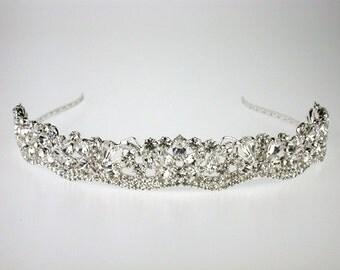 Wedding Tiara - Rhinestone Tiara - Josephine Bridal Silver Tiara with Bohemian Rhinestones - Bridal Hair - Wedding Jewelry - Crystal Tiara