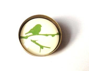 Birdie - brooch with green bird