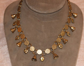 Vintage Mini Hearts and Bells Necklace