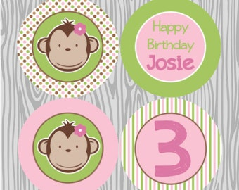 DIY - Girl Polka Dot Mod Monkey Cupcake Toppers- Coordinating Items Available