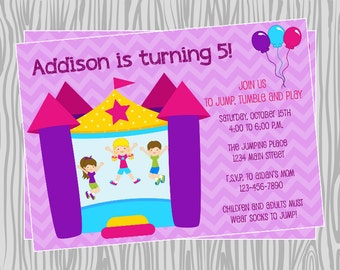 DIY -Girl Bounce House Birthday Invitation - Coordinating Items Available