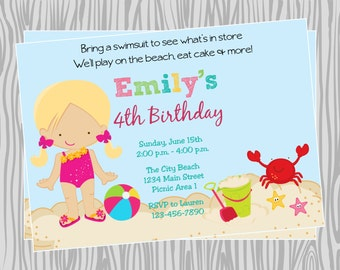 DIY - Girl Beach Birthday Party Invitation - Coordinating Items Available