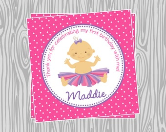 DIY - Tutu Girl First Birthday Favor Tags- Coordinating Items Available