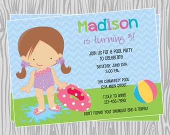 DIY - Girl Pool Party Birthday Invitation - Coordinating Items Available