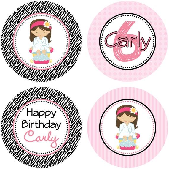 DIY Girl Zebra Print Spa Party Birthday Cupcake Toppers 2