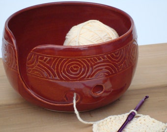 Red Pottery Yarn Bowl with hand carved design, Knitting bowl, Crochet bowl, yarn holder