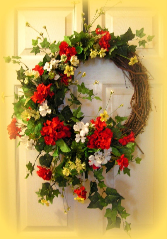 Colorful summer wreath geraniums greenery by for Colorful summer wreaths