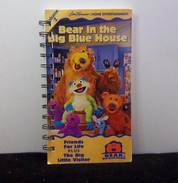 Recycled Notebook From Bear In Big Blue House VHS Box Handmade
