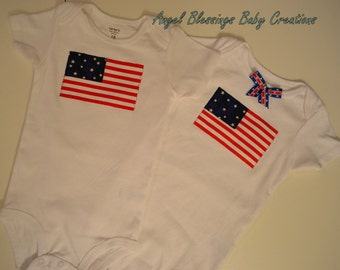 Stars & Stripes Novelty Bodysuits Made To Order for Boy or Girl Sizes Preemie to 24 Months American Flag 4th of July Patriotic Baby Bodysuit