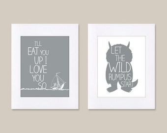 Digital Download Set of 2 Where the Wild Things Are Let the Wild Rumpus Nursery Art kids, Let The Wild Rumpus Start - 8x10 or 11x14