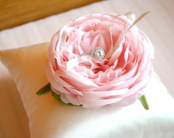 pastel peony wedding ring pillow(pink/blue)