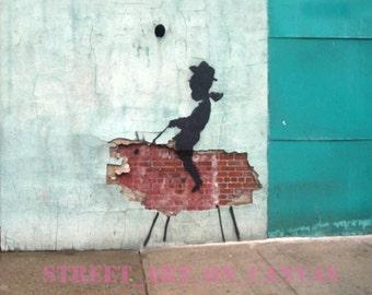 Banksy canvas ACEO Urban Cowboy Street Art Grafitti Premium Print