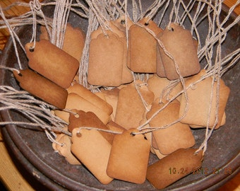 100 Xs Xsmall Blank Coffee Stained Primitive Hang Tags Lot With String
